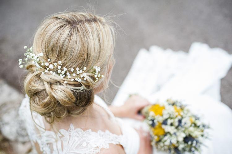 Hair Bride Bridal Flowers Gyp Gypsophila Whimsical Summery Lilac Wedding http://eleanorjaneweddings.co.uk/