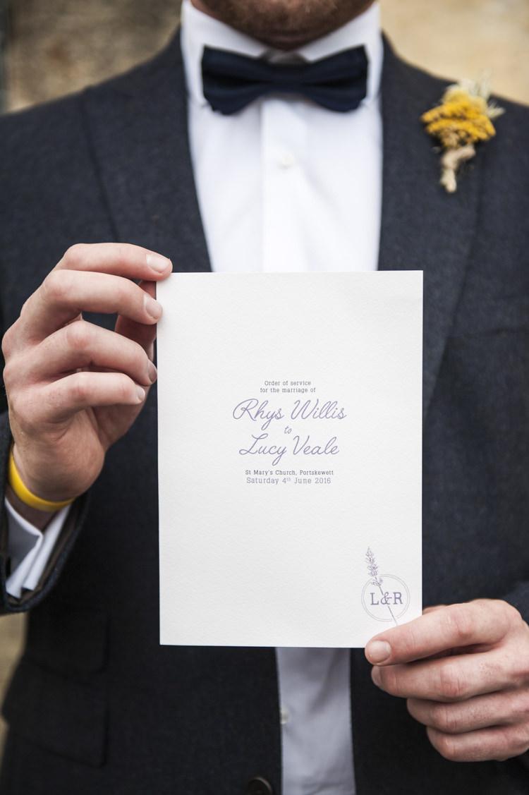Stationery Order Of Service Invitation Whimsical Summery Lilac Wedding http://eleanorjaneweddings.co.uk/