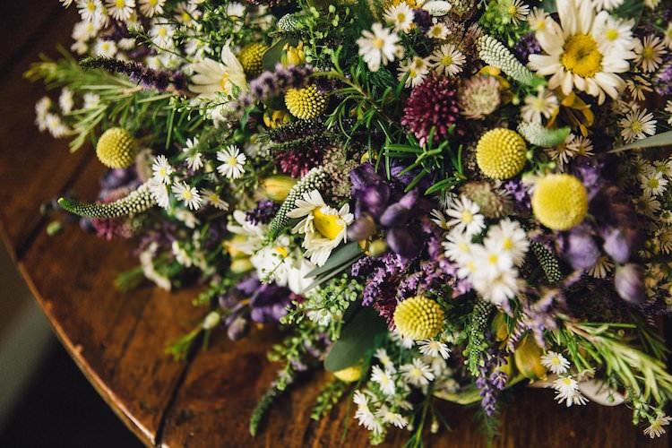 Purple Yellow Flowers Arrangement Sweet Quirky Yellow Antique Wedding https://www.redonblonde.com/