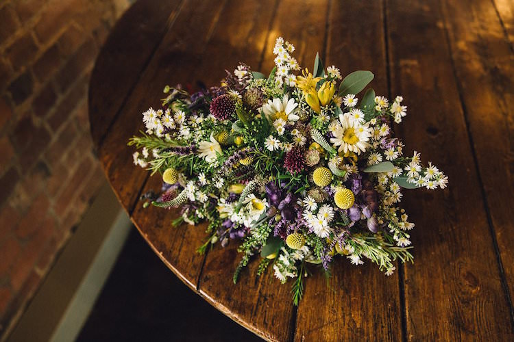 Purple Yellow Flowers Bouquet Bride Bridal Daisy Sweet Quirky Yellow Antique Wedding https://www.redonblonde.com/