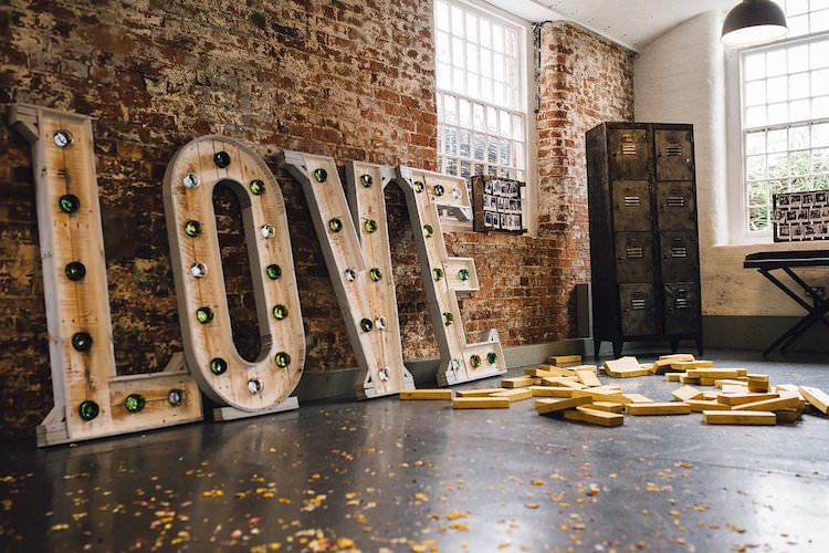 LOVE Letter Lights Sweet Quirky Yellow Antique Wedding https://www.redonblonde.com/
