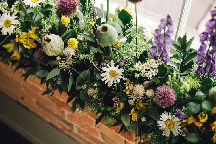 Purple Yelllow Flowers Decor Sweet Quirky Yellow Antique Wedding https://www.redonblonde.com/
