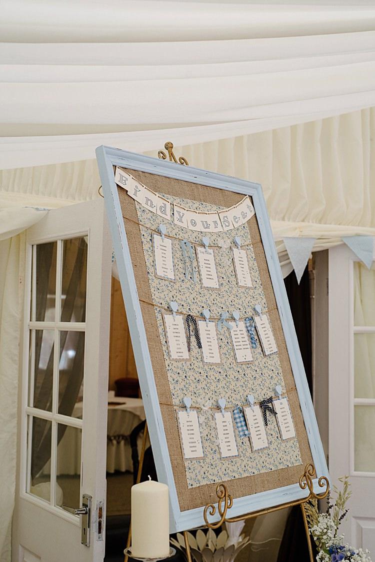 DIY Table Plan Board Rag and Bow Bunting Pretty Pale Blue Summer Wedding http://www.georginabrewster.com/
