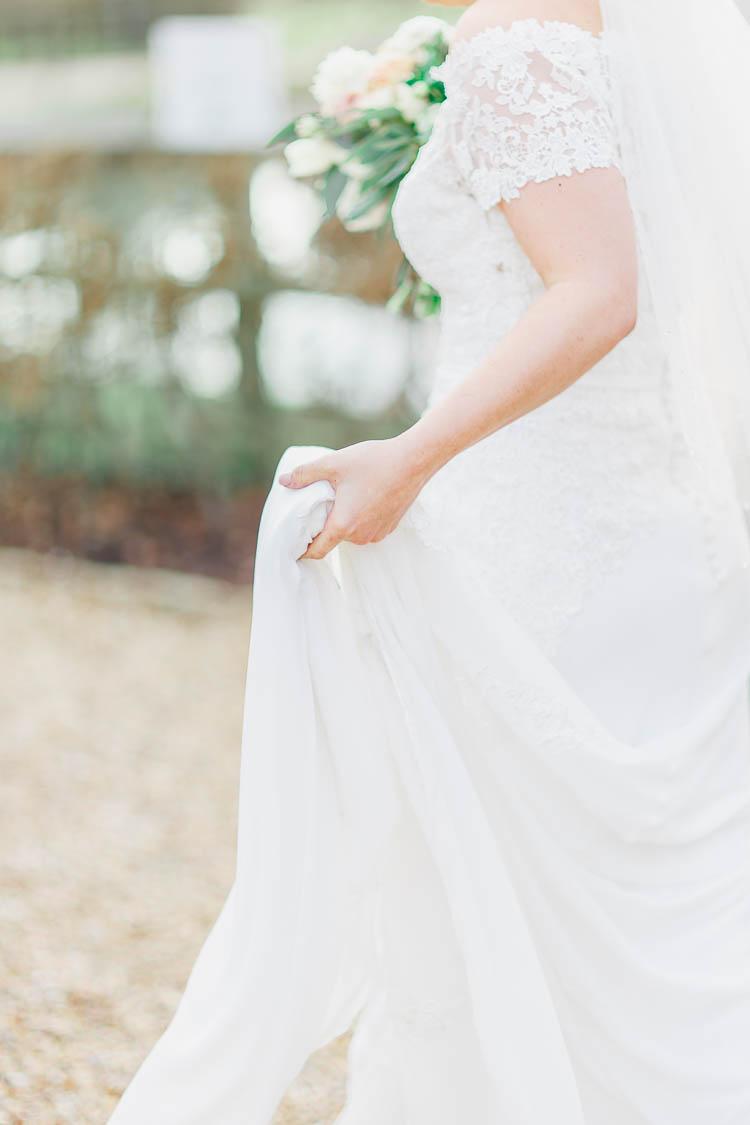 Lace Silk Dress Gown Bride Bridal Beautiful Rustic Fairy Lights Barn Wedding http://whitestagweddings.com/