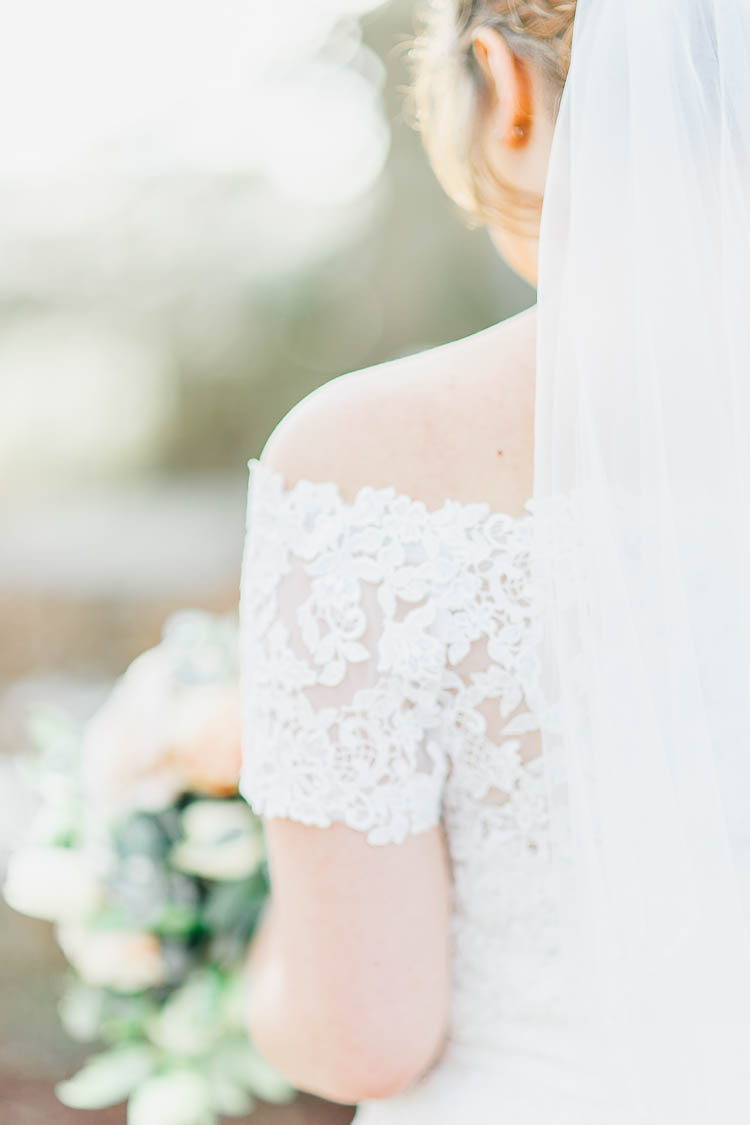 Off The Shoulder Lace Dress Gown Bride Bridal Bardot Beautiful Rustic Fairy Lights Barn Wedding http://whitestagweddings.com/