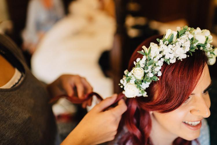 Flower Crown Headdress Bride Bridal Accessory Informal Camp Woodland Wedding https://stevenanthonyphotography.co.uk/