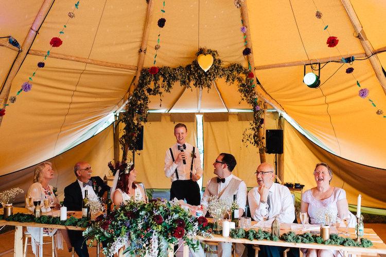 Flower Arch Top Table Decor Informal Camp Woodland Wedding https://stevenanthonyphotography.co.uk/