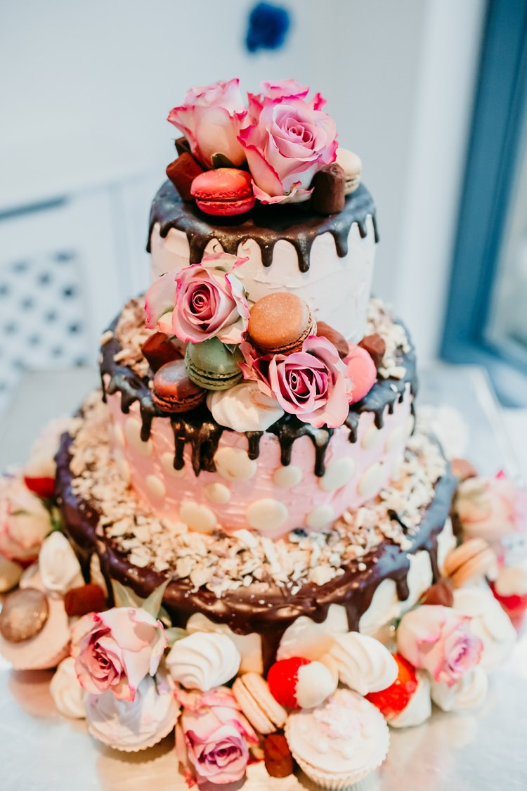 Drip Cake Rose Macaron Strawberries Fun Colourful Modern Music Wedding http://hollycollingsphotography.com/