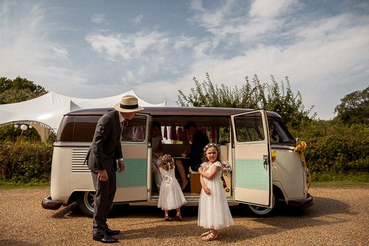 Camper Van Transport Fun Multicolour Creative Barn Wedding http://www.mattparryphotography.co.uk/