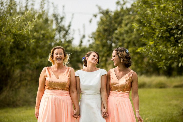 Top Skirt Bridesmaids Peach Pink Sequin Fun Multicolour Creative Barn Wedding http://www.mattparryphotography.co.uk/