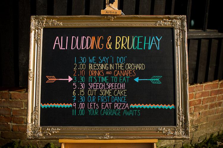 Rainbow Chalk Black Board Sign Fun Multicolour Creative Barn Wedding http://www.mattparryphotography.co.uk/