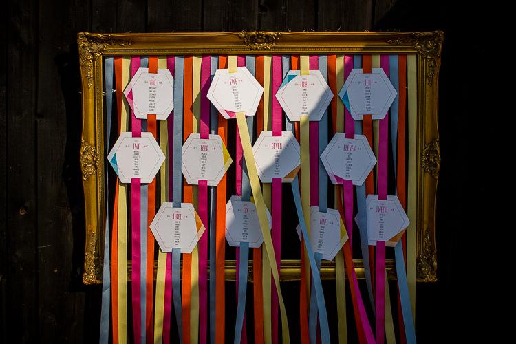 Rainbow Ribbon Seating Plan Chart Frame Fun Multicolour Creative Barn Wedding http://www.mattparryphotography.co.uk/
