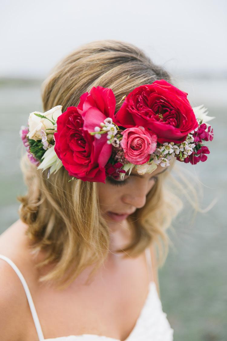 Flower Crown Bride Bridal Red Pink Rose Peony Pretty Headdress Accessory Creative Cool Bohemian Harbourside Wedding http://carohutchings.com/