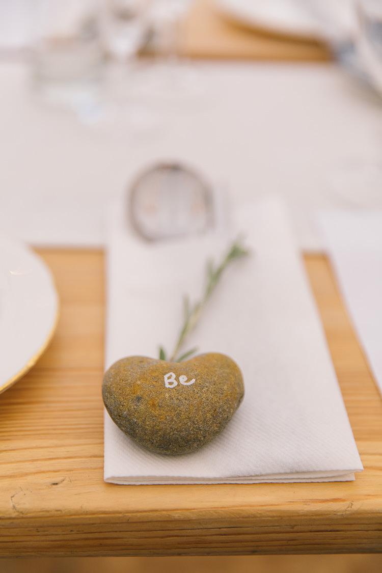 Pebble Place Name Setting Card Creative Cool Bohemian Harbourside Wedding http://carohutchings.com/