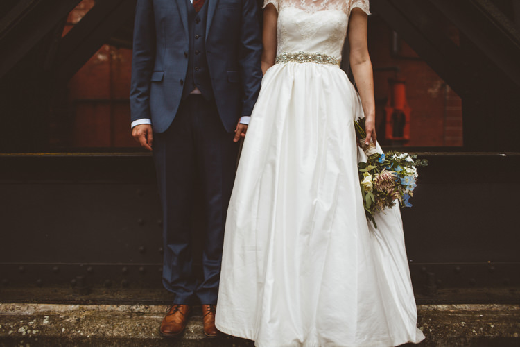 Bride Bridal Tara Keeley A Line Sleeves Dress Beaded Belt Lace Groom Industrial Cool Museum Wedding https://photography34.co.uk/