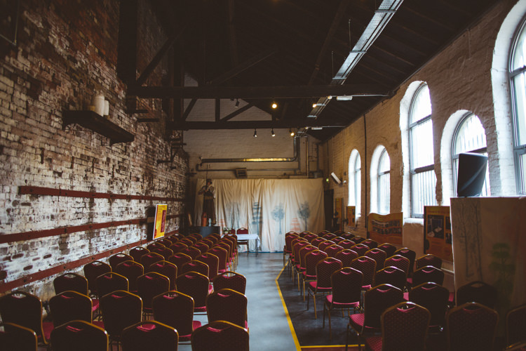 Ceremony Set Up Warehouse Bare Brick Kelham Island Museum Industrial Cool Museum Wedding https://photography34.co.uk/