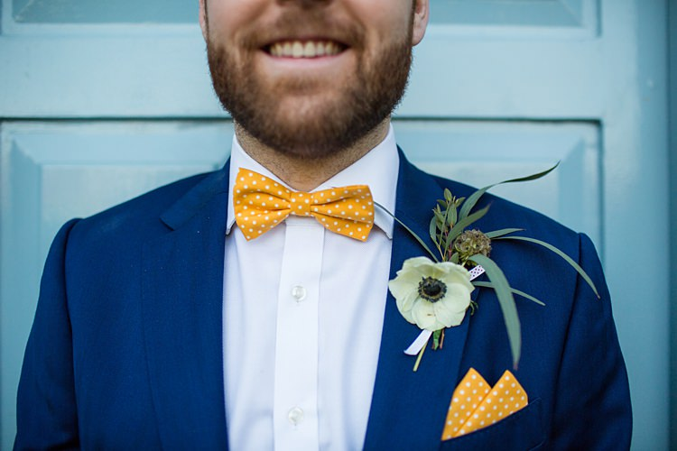 Yellow Bow Tie Pocket Square Groom Style Fun Spring Floral Creative Wedding https://www.binkynixon.com/