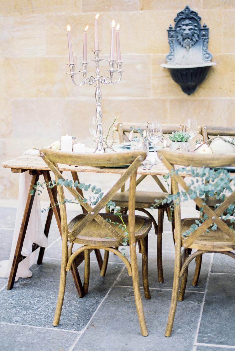 Chairs Rustic Wooden Eucalyptus Foliage Greenery Ethereal Soft Fine Art Wedding Ideas http://lizbakerphotography.co.uk/