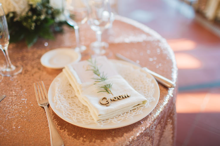 Laser Cut Wood Place Name Card Rosemary Rose Gold Sequin Table Cloth Favour Elegant Stylish Sorrento Destination Wedding http://www.francessales.co.uk/