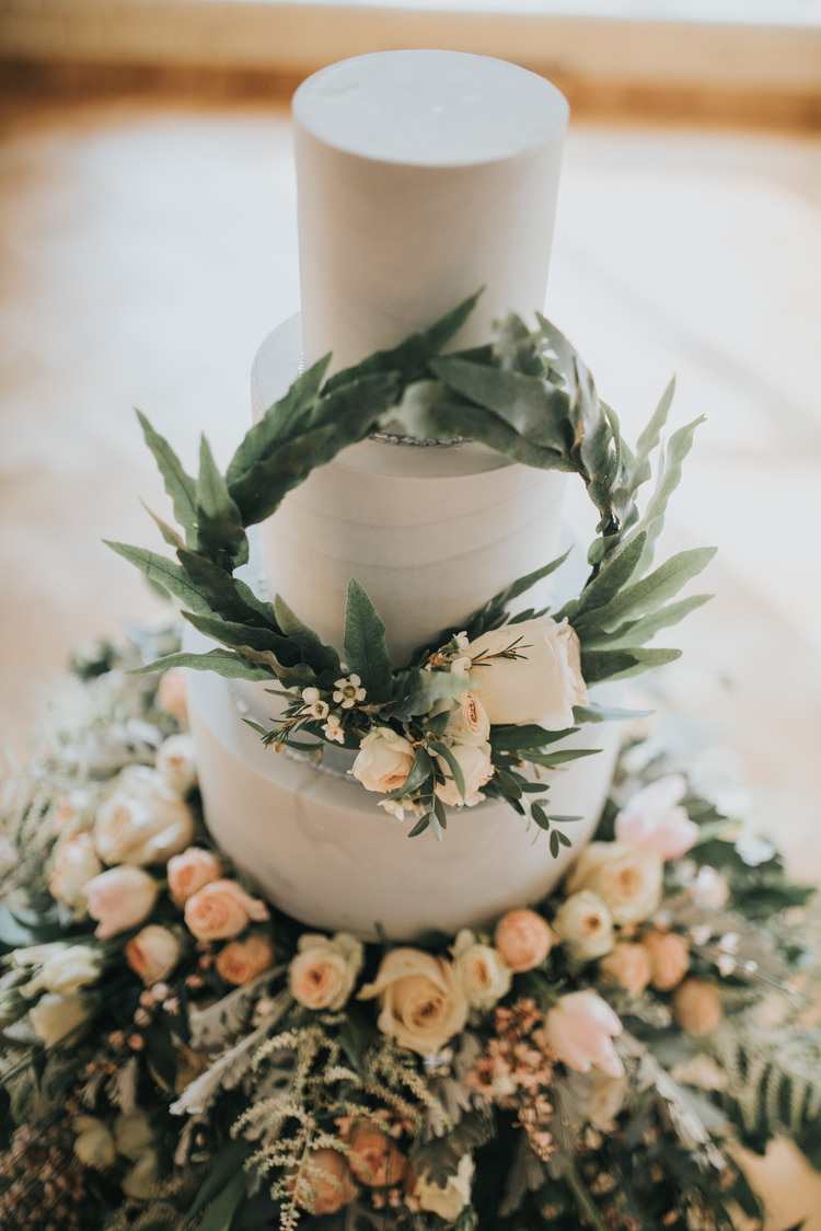Cake Flowers Floral Foliage Botanical Wreath Industrial Into The Wild Greenery Wedding Ideas http://www.ivoryfayre.com/