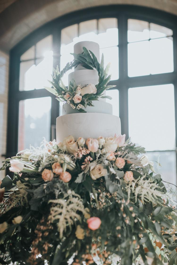 Cake Flowers Floral Foliage Botanical Industrial Into The Wild Greenery Wedding Ideas http://www.ivoryfayre.com/