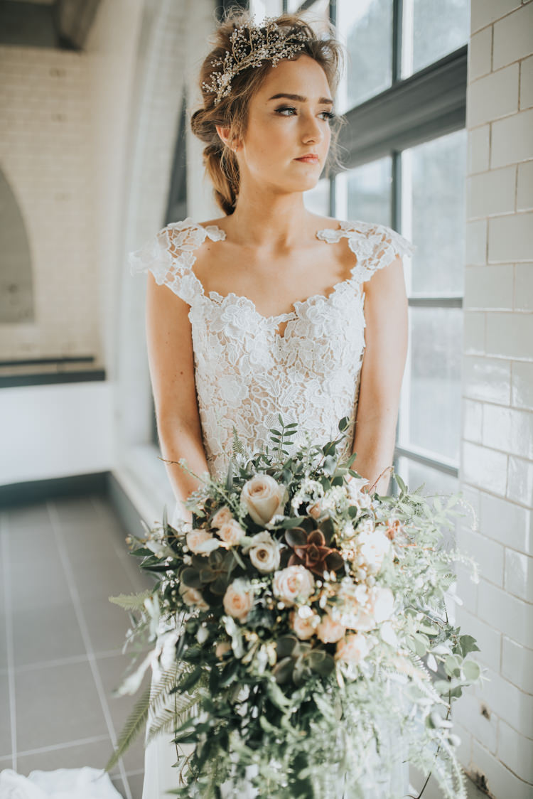 Dress Gown Bride Bridal Silk Straps Industrial Into The Wild Greenery Wedding Ideas http://www.ivoryfayre.com/