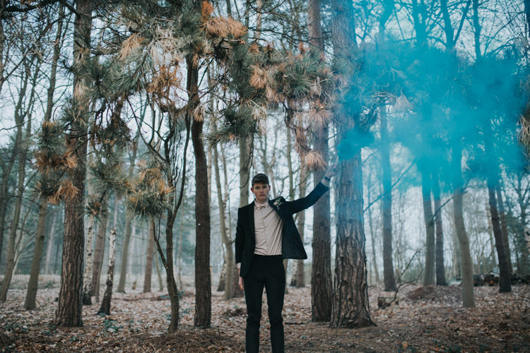 Groom Black Suit Pink Bow Tie Outfit Style Smoke Bomb Industrial Into The Wild Greenery Wedding Ideas http://www.ivoryfayre.com/