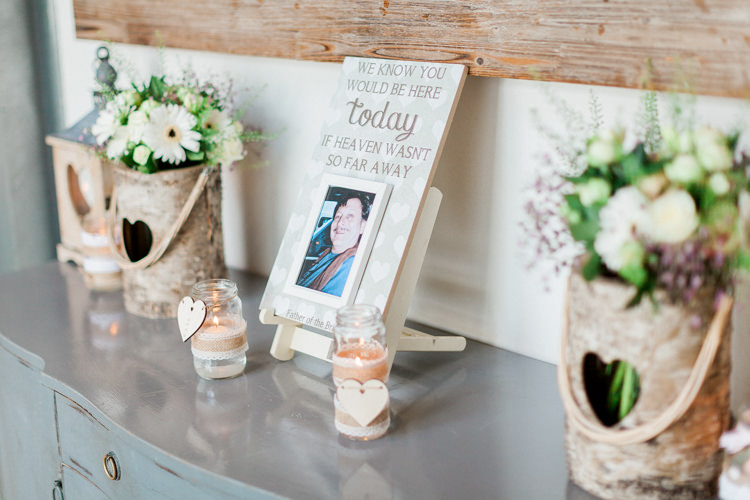 Lost Loved Ones Memory Table Photographs Modern Rustic Ivory Barn Wedding http://vickylamburn.com/