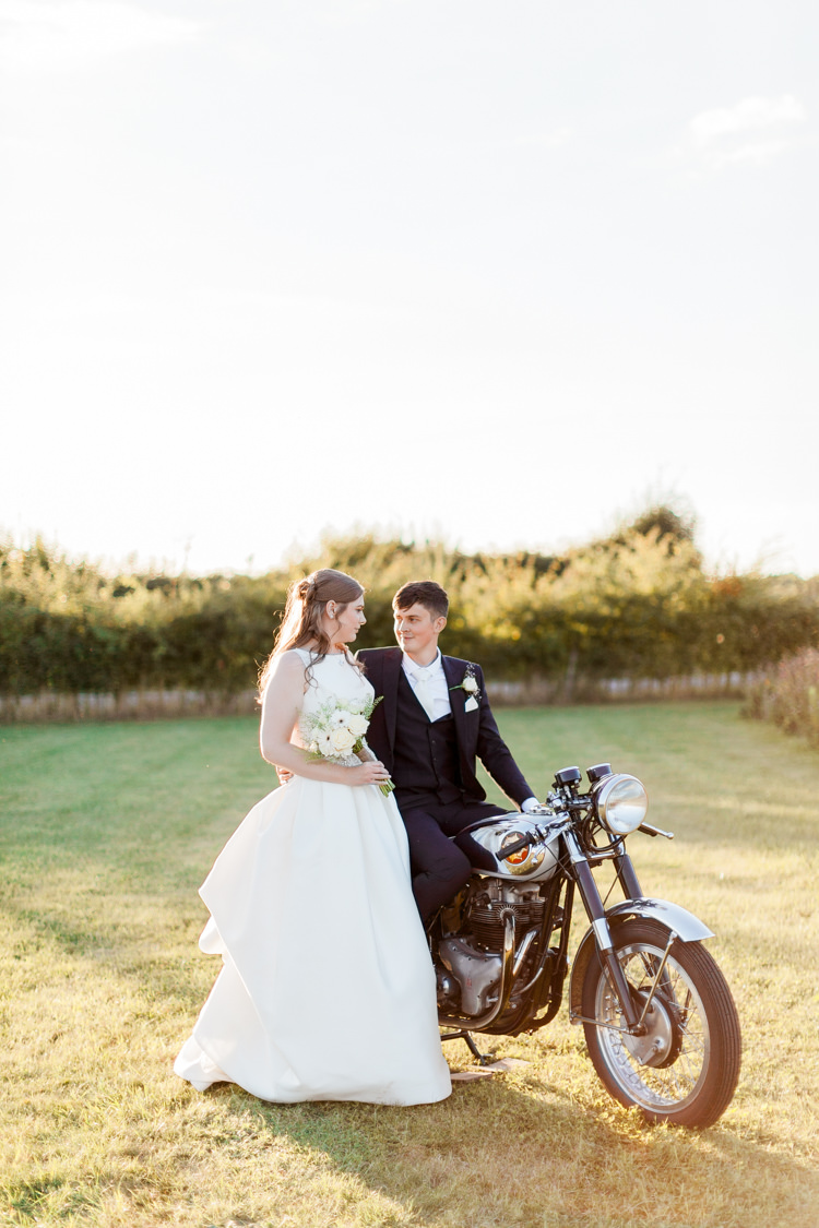 Motorbike Bride Groom Transport Modern Rustic Ivory Barn Wedding http://vickylamburn.com/