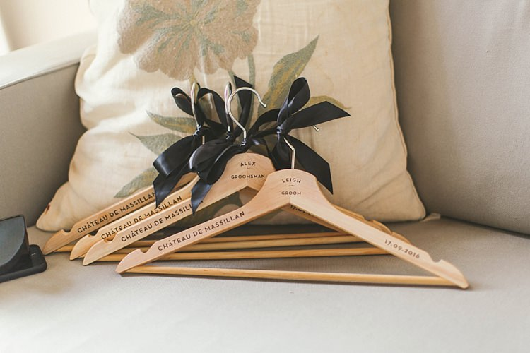 Personalised Hangers Bridesmaids Gift Natural Romantic Chateau Destination Wedding South of France http://www.jayrowden.com/