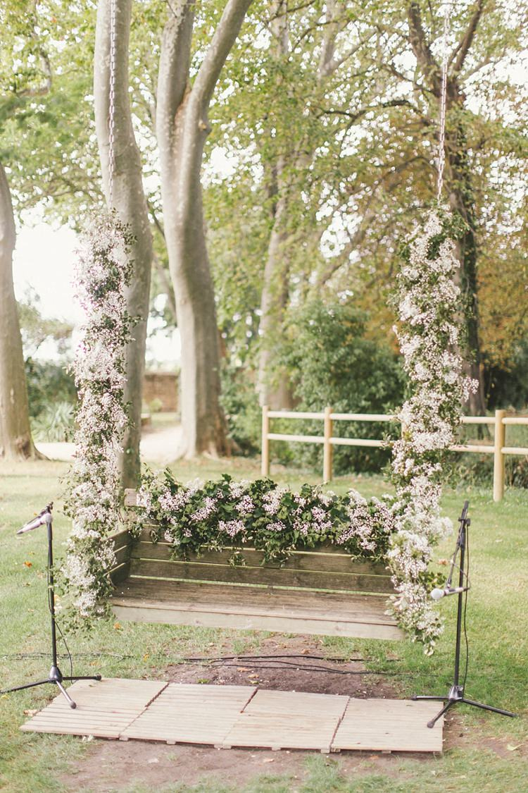 Floral Swing Seat Flowers Decor Ceremony Natural Romantic Chateau Destination Wedding South of France http://www.jayrowden.com/