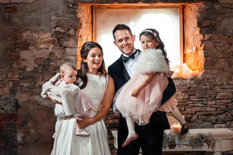 Bride Groom Daughters Children Kids Family Stylish Winter Glamour Wedding http://lunaweddings.co.uk/