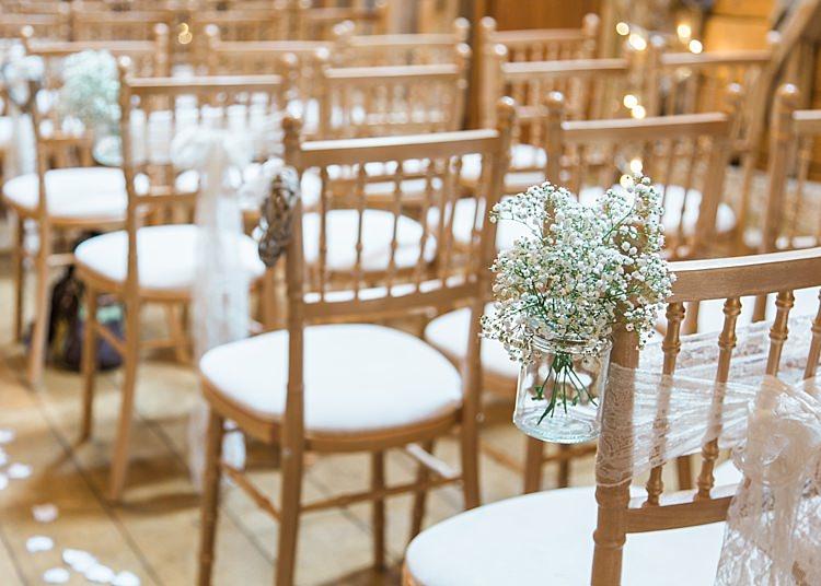 Gypsophila Aisle Jars Decoration Romantic Soft Pastels Barn Wedding http://www.sungblue.com/