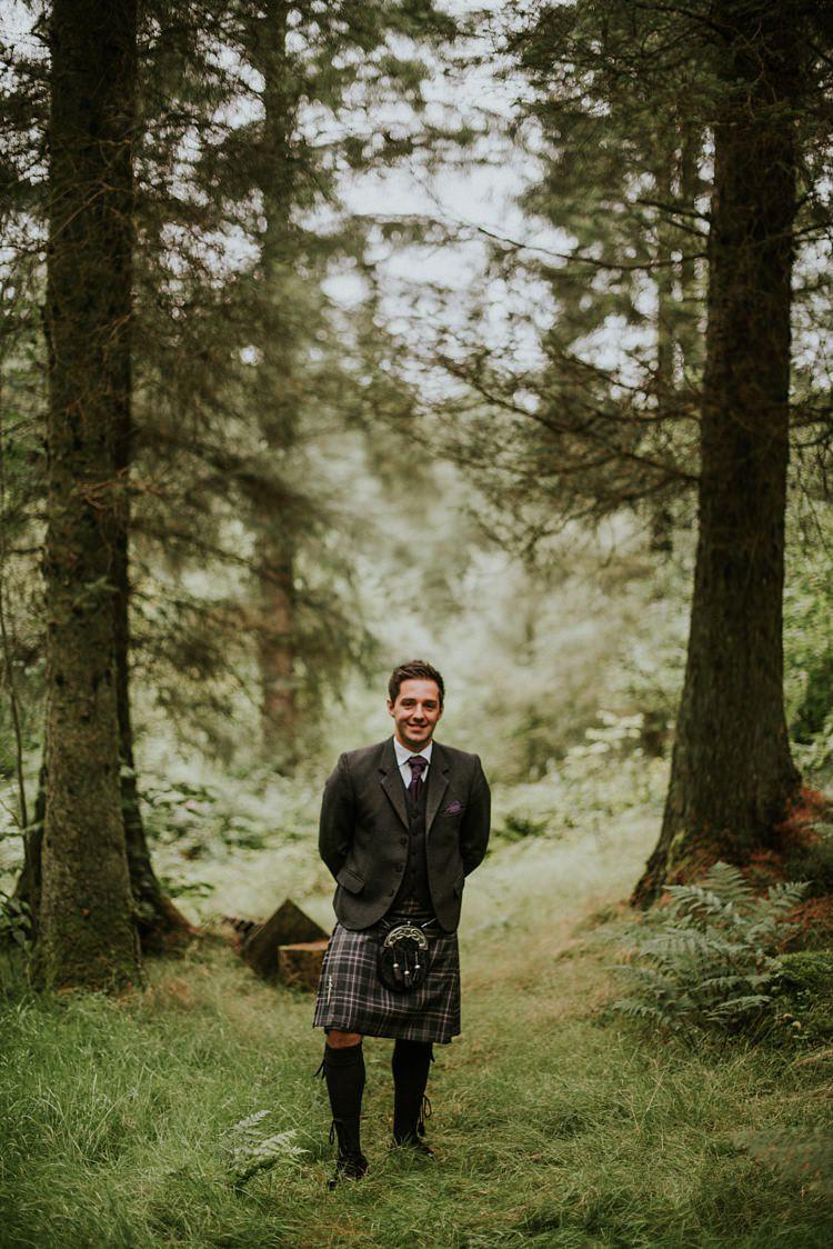 Kilt Tweed Groom Creative Woodland Mad Hatters Tea Party Wedding https://www.clairefleckphotography.com/