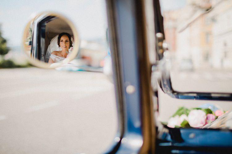 Car Transport Reflection Romantic Vibrant Pink Wedding Trieste http://www.emotionttl.com/en/home/