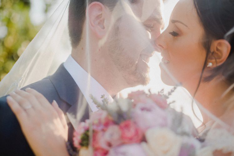 Bride Groom Kiss Veil Romantic Vibrant Pink Wedding Trieste http://www.emotionttl.com/en/home/