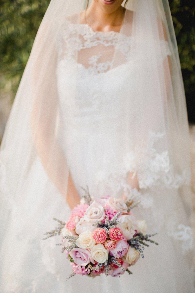 Veil Lace Bouquet Romantic Vibrant Pink Wedding Trieste http://www.emotionttl.com/en/home/