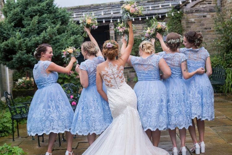Bride Bridal Gown Dress Back Detail Fishtail Pronovias Bridesmaids Chi Chi London Blue Tea Length Lace Pretty Quirky Pastel Wedding http://www.happilyevercaptured.com/
