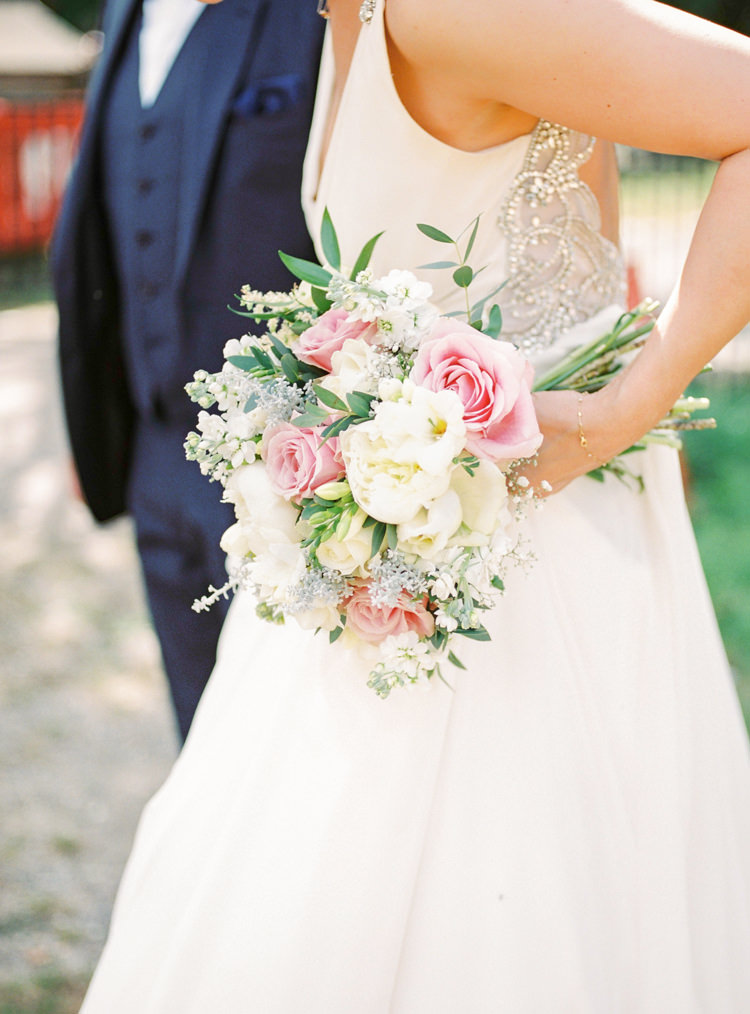 Rose Peony Bouquet Bride Bridal Flowers Pretty Pink White Whimsical Luxury Summer Garden Party Wedding https://www.wookiephotography.com/