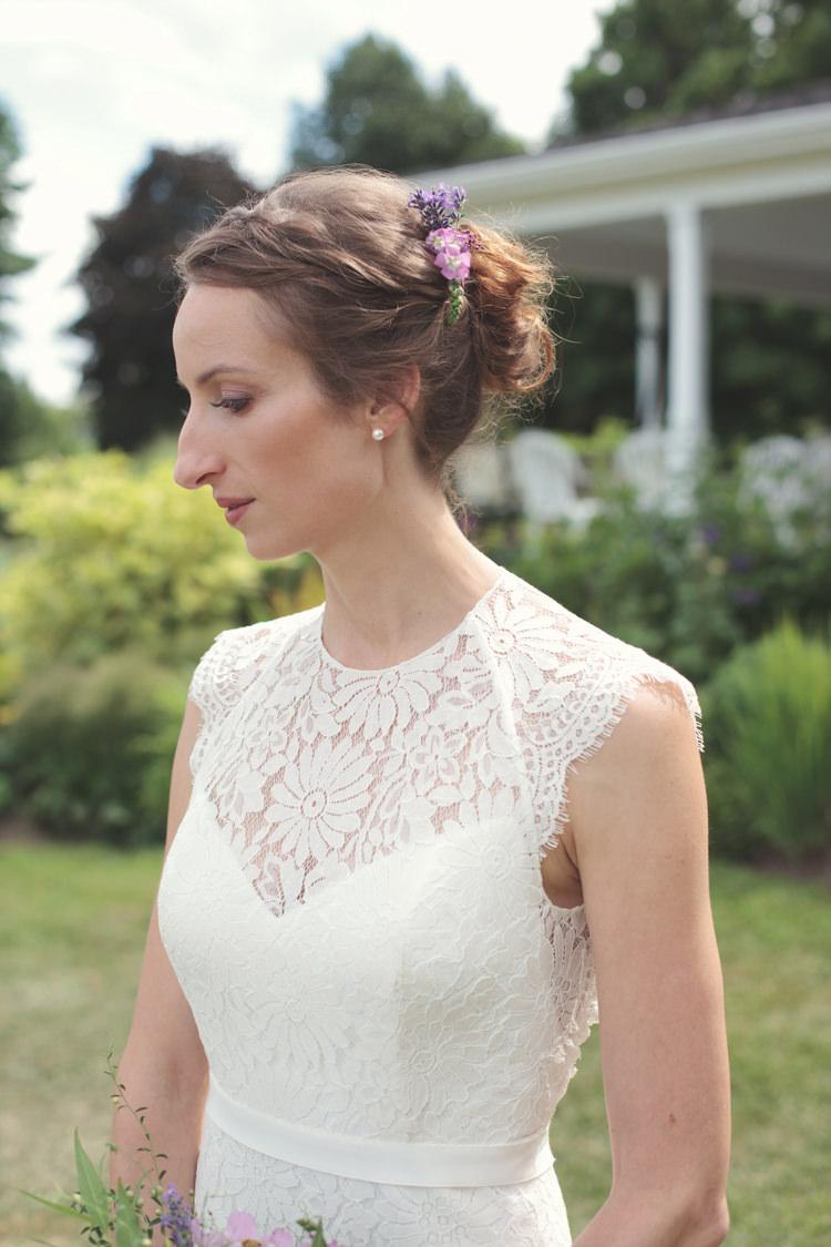Hair Bride Bridal Flowers Casual Country Farm Wedding Ontario https://tiedphotography.com/