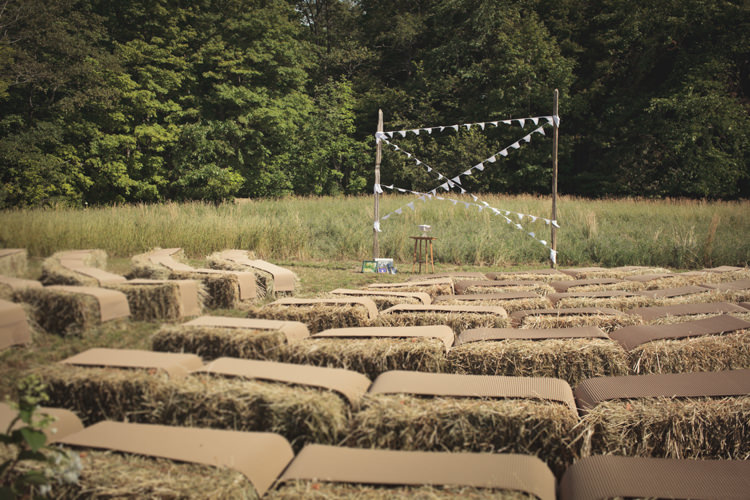 Hay Bales Seating Arch Bunting Ceremony Outdoor Casual Country Farm Wedding Ontario https://tiedphotography.com/