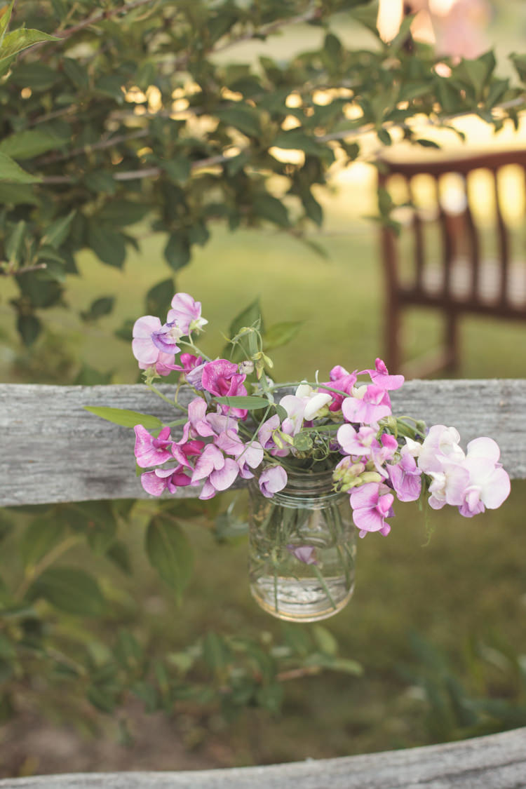 Sweet Peas Jar Flowers Casual Country Farm Wedding Ontario https://tiedphotography.com/