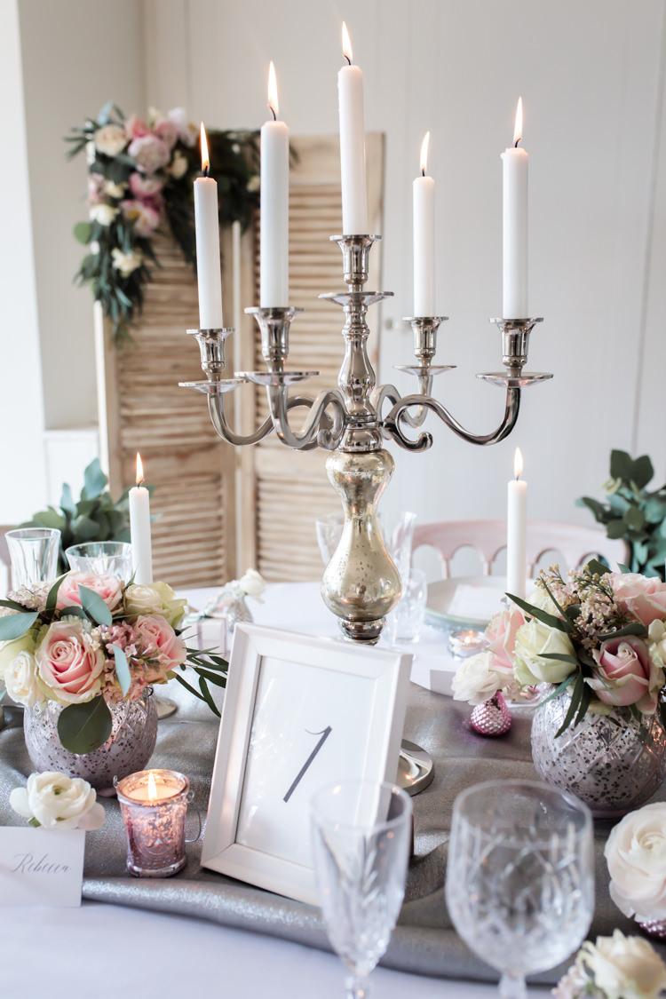 Candalabra Centrepiece Decor Table Pretty Soft Country Garden Pastel Wedding Ideas https://www.ellielouphotography.co.uk/