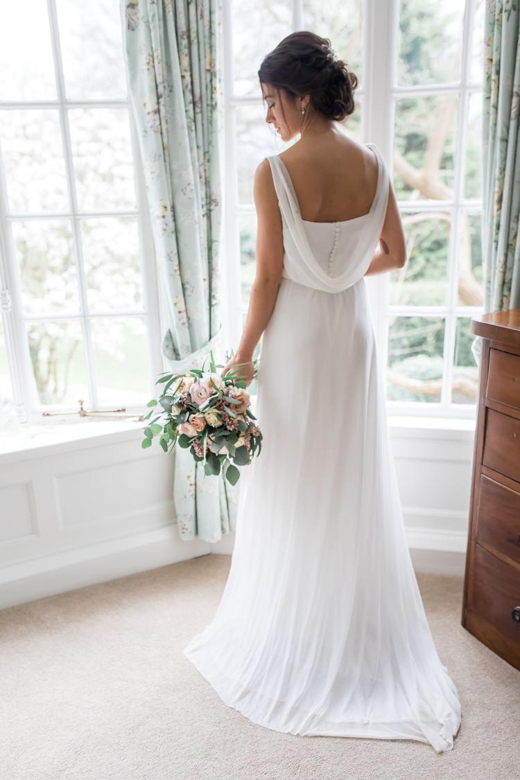 Cowl Back Dress Gown Bride Bridal Straps Buttons Pretty Soft Country Garden Pastel Wedding Ideas https://www.ellielouphotography.co.uk/
