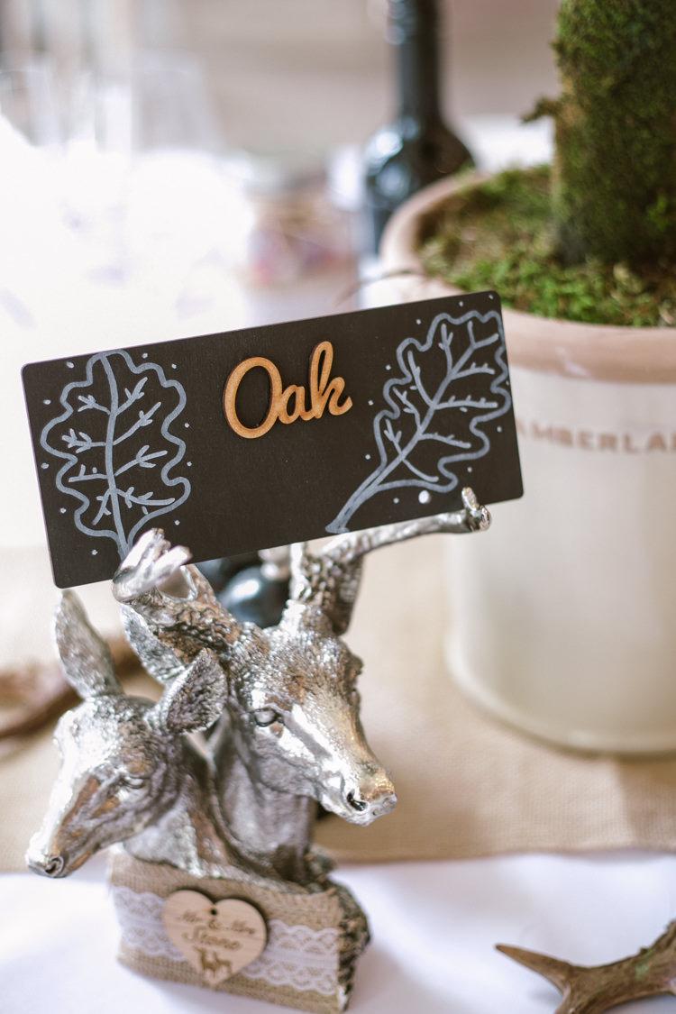 Table Cente Name Laser Cut Wood Deer Hessian Lace Easter Spring Woodland Wedding http://emmastonerweddings.com/