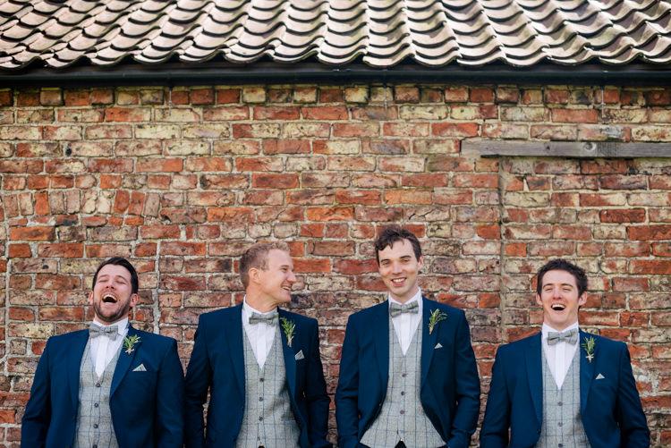 Tweed Check Waistcoats Bow Tie Groom Groomsmen Industrial Glam Marquee Wedding http://www.stottandatkinson.com/