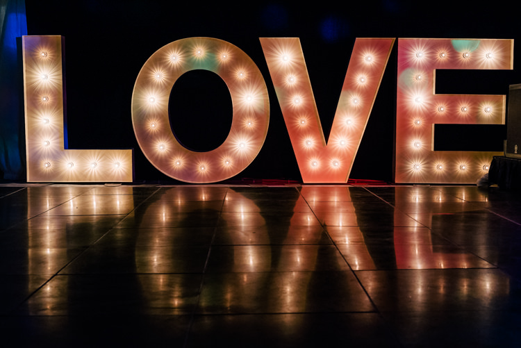 Love Letter Lights Industrial Glam Marquee Wedding http://www.stottandatkinson.com/