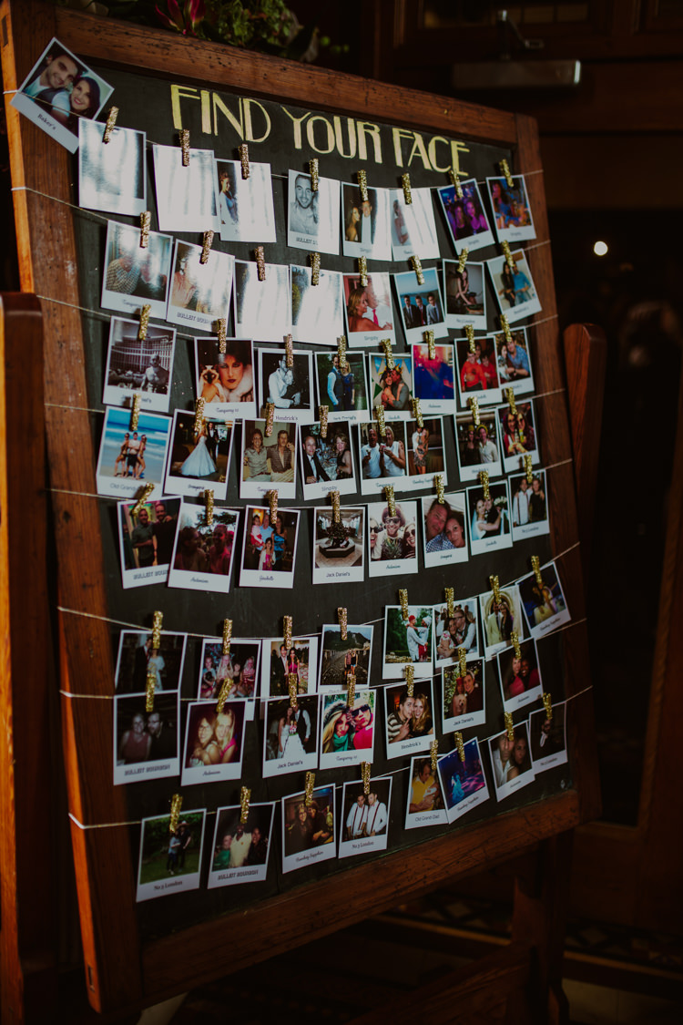 Table Plan Seating Chart Pegs String Polaroids Wood Frame Find Your Face 1920s Speakeasy Country House Glamour Wedding https://www.bearscollective.com/