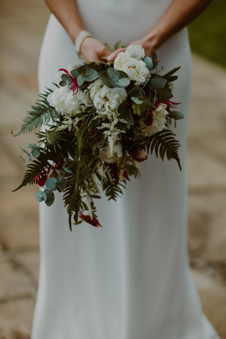 Bride Bridal Bouquet Ferns Peonies Eucalyptus White 1920s Speakeasy Country House Glamour Wedding https://www.bearscollective.com/