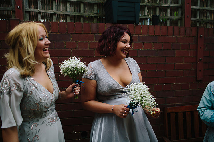 Grey Silver Bridesmaid Dresses Indie Outdoorsy Cowshed DIY Wedding http://www.danhoughphoto.com/